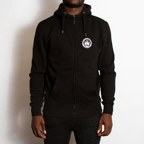 Illegal Rave Crest - High Neck Zip Up Hoodie - Black - Wasted Heroes