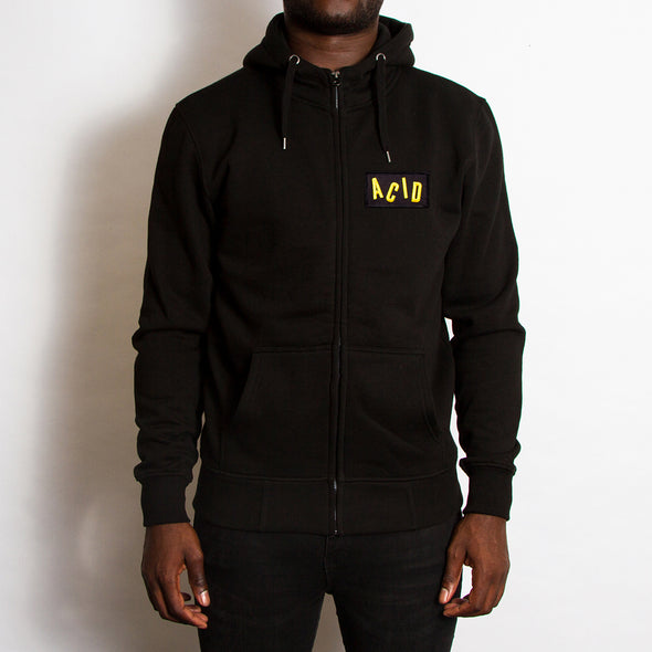 Acid Letter Crest - High Neck Zip Up Hoodie - Black - Wasted Heroes