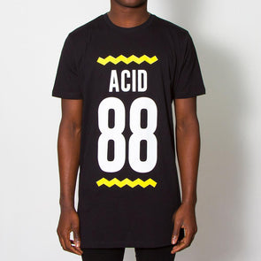 Acid 88 Front Print - Longline - Black - Wasted Heroes