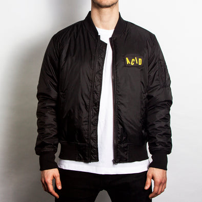 Acid Letter - Padded Bomber Jacket - Black - Wasted Heroes