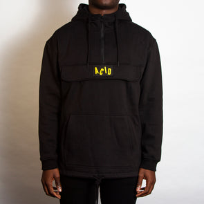 Acid Letter - Zipped Pullover Hood - Black - Wasted Heroes