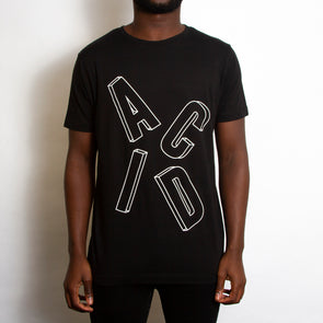 Remixed Acid Letter Front Print - Tshirt - Black - Wasted Heroes