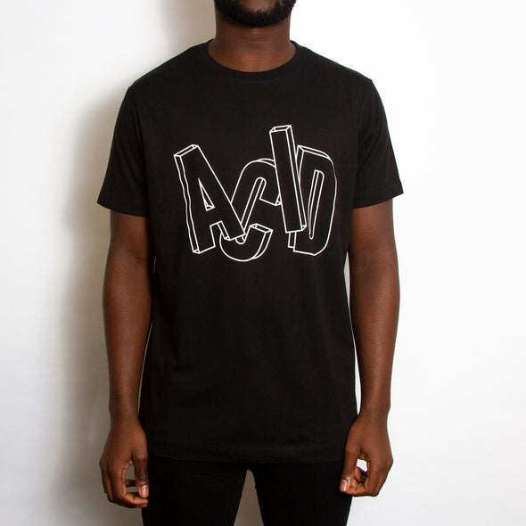 Remix 2 Acid Letter Front Print - Tshirt - Black - Wasted Heroes