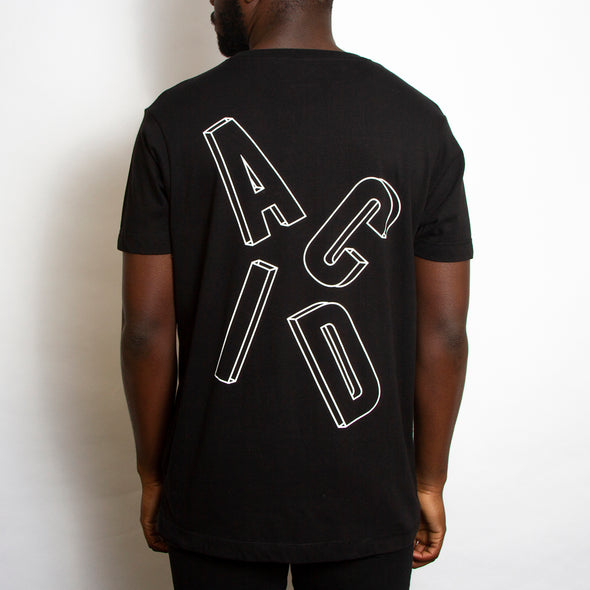 Remixed Acid Letter Back Print - Tshirt - Black - Wasted Heroes