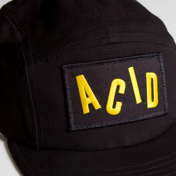 Acid Letter - 5 Panel Cap - Black - Wasted Heroes