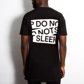 Do Not Sleep Back Print - Longline - Black