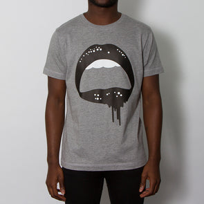 Dripping Lips - Tshirt - Grey - Wasted Heroes