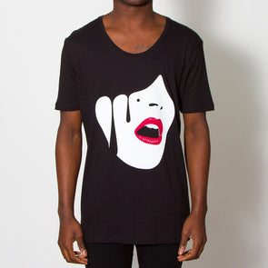 Droplet Face - Scoop Neck - Black