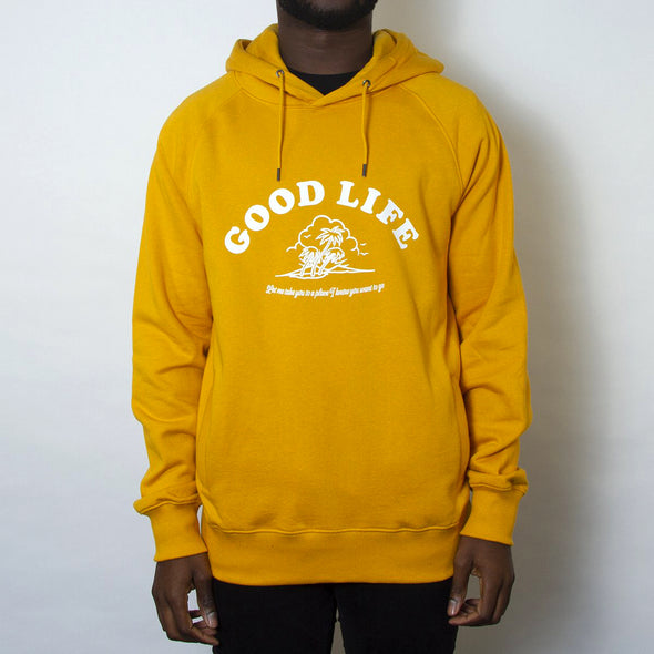 Good Life Front Print - Unisex Hoodie - Mango - Wasted Heroes