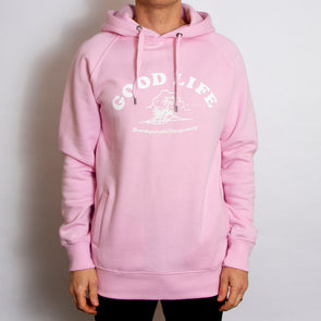 Good Life Front Print - Unisex Hoodie - Pink - Wasted Heroes