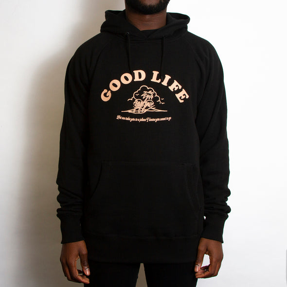 Good Life Front Print - Pullover Hood - Black - Wasted Heroes