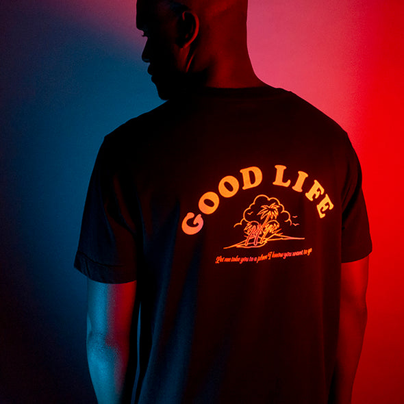 Good Life Peach Print - Longline - Black - Wasted Heroes