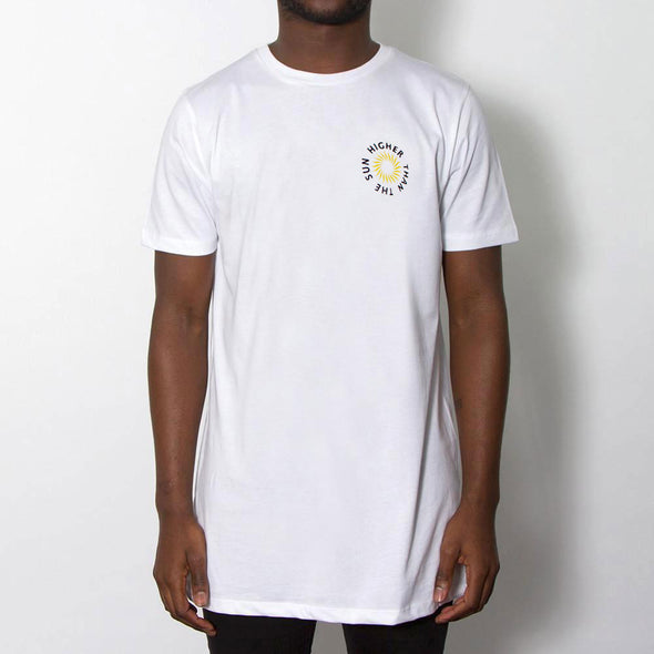 Higher Than The Sun Back Print - Longline - White - Wasted Heroes