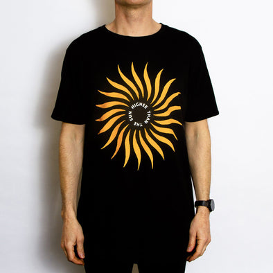Higher Than The Sun Front Print - Tshirt - Black - Wasted Heroes