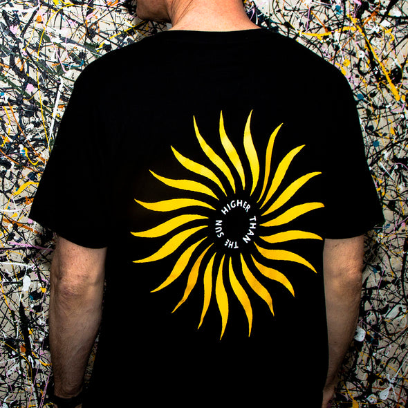 Higher Than The Sun Back Print - Longline - Black - Wasted Heroes