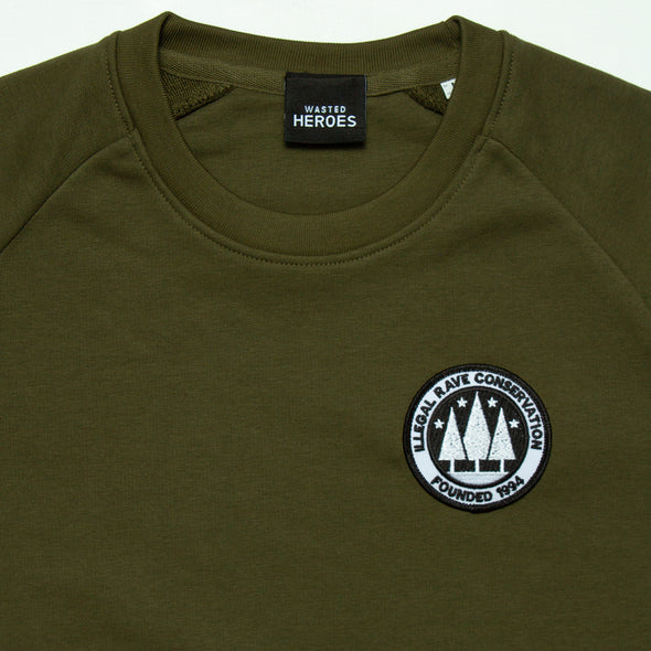 Crest Illegal Rave Conservation - Sweatshirt - Khaki - Wasted Heroes