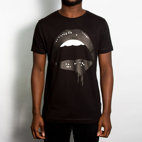 Dripping Lips - Tshirt - Black - Wasted Heroes