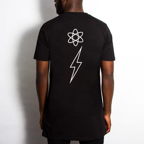 Energy Flash Back Print - Longline - Black