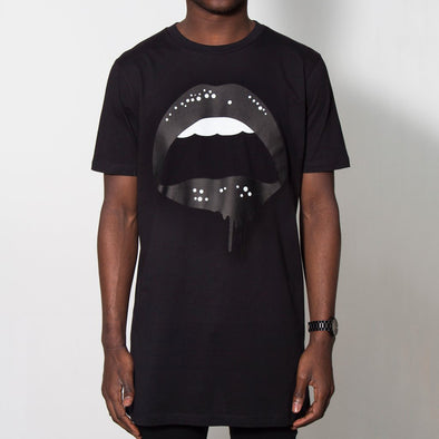 Dripping Lips - Longline - Black