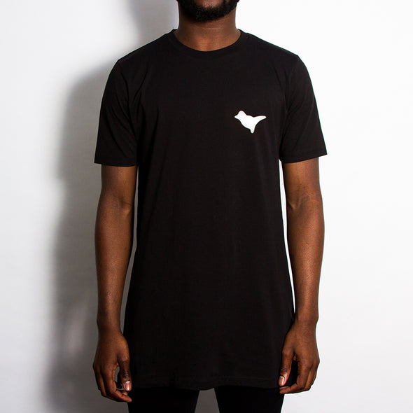 Dove Back Print - Longline - Black - Wasted Heroes