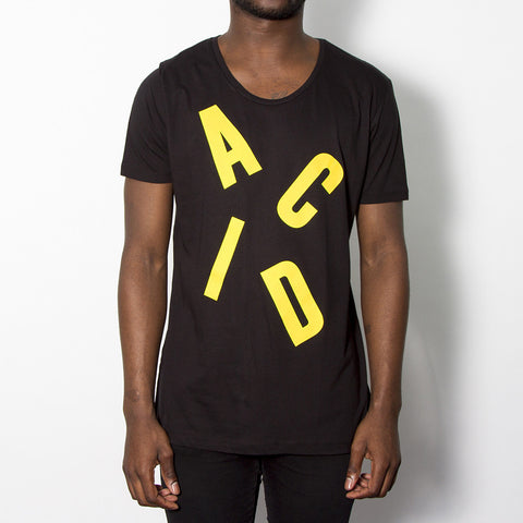 Acid Letter Scoop Neck T-shirt - Black