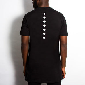Stars Back Print - Longline - Black - Wasted Heroes