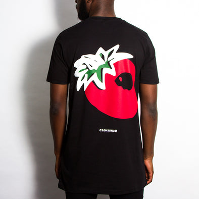 Strawberry Longline T-shirt - Back Print - Black