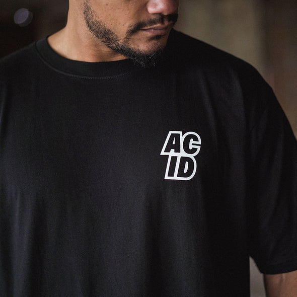 Acid Sport Back Print  - Oversized Tshirt - Black - Wasted Heroes