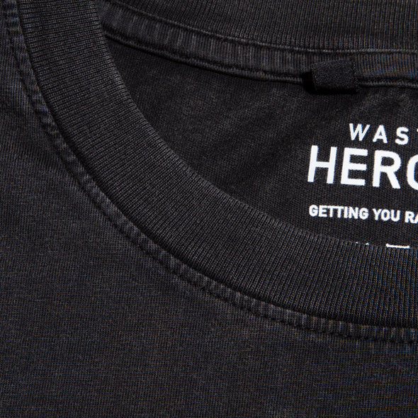 Es Vedrà Good Life Back  - Oversized Tshirt - Stone Wash Black - Wasted Heroes