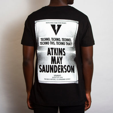 Sound System Techno White Back - Tshirt - Black - Wasted Heroes