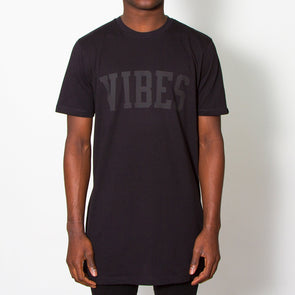 Vibes Blk On Blk - Longline - Black - Wasted Heroes