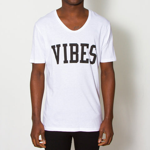 Vibes White Scoop Tee