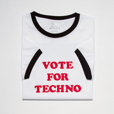 Vote For Techno - Ringer Tshirt - White - Wasted Heroes