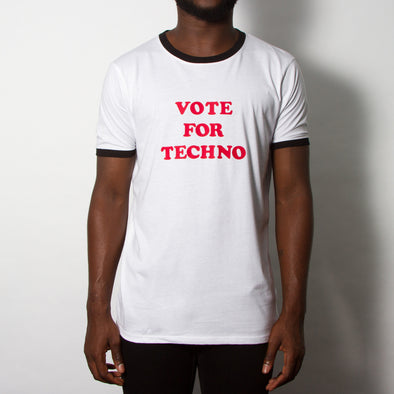 Vote For Techno - Ringer Tshirt - White