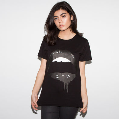 Dripping Lips - Womens Tshirt - Black