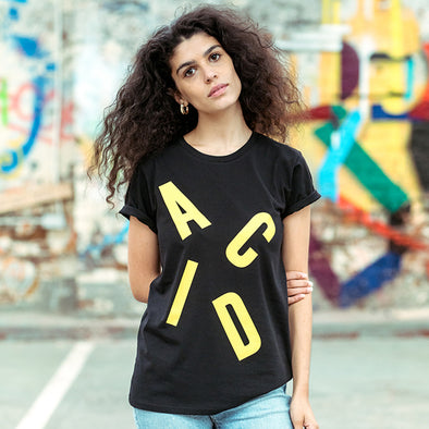 Acid Letter  - Women's Tshirt - Black - Wasted Heroes