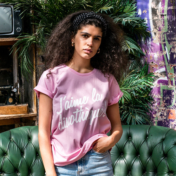J'aime Discotheque - Womens Tshirt - Pink - Wasted Heroes