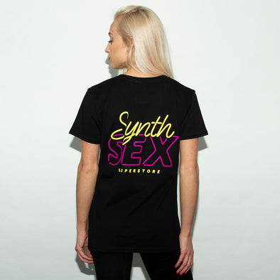 Synth Sex Back Print - Womens Tshirt - Black