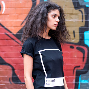 Techno Black - Womens Tshirt - Black - Wasted Heroes