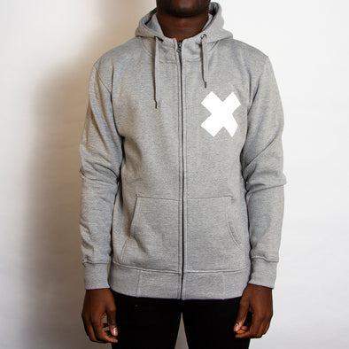 X - High Neck ZipUp Hoodie - Grey - Wasted Heroes