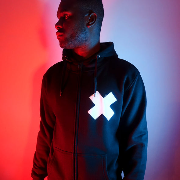 X - High Neck ZipUp Hoodie - Black - Wasted Heroes
