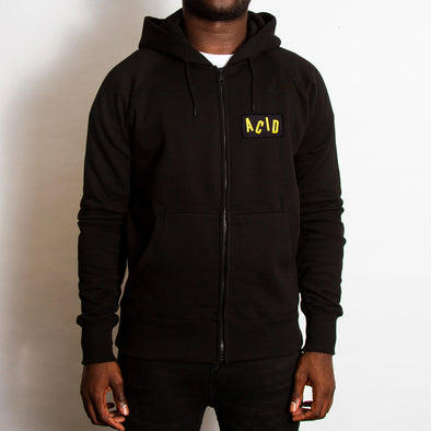 Acid Letter Crest - Zipped Hood - Black - Wasted Heroes