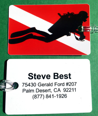 SCUBA DIVING FLAG W/DIVER ID / LUGGAGE TAG (Printed on Back)