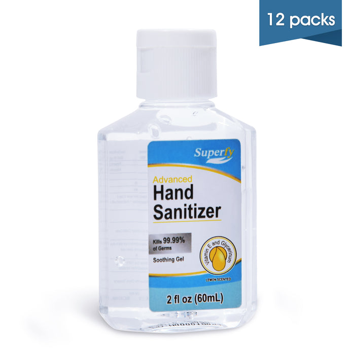 Superfy Hand Sanitizer Travel Size with 70% Alcohol , 12PC 2 oz, instant rereshing Gel Hand Wash, 24 Total FL OZ.6900-0060-12bottles