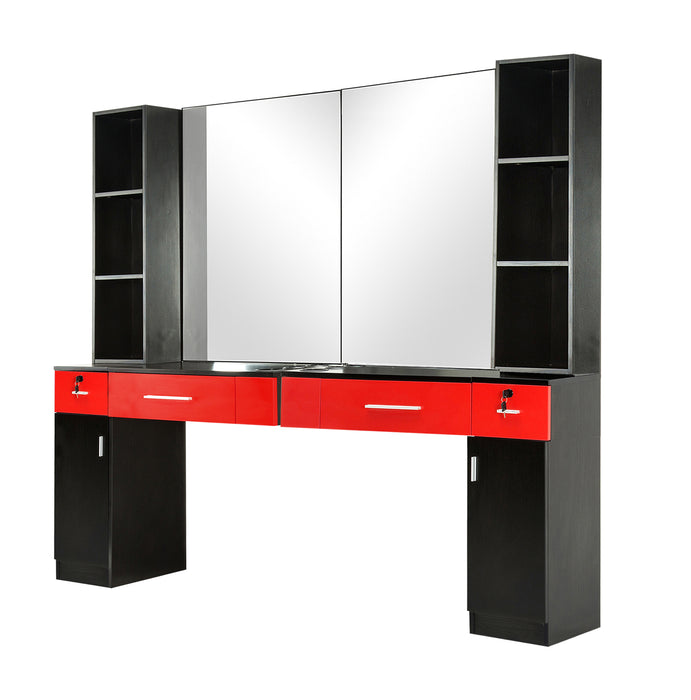 BarberPub Wall Mount Barber Station Hair Styling with Mirror Dressing Table Beauty Salon Spa Equipment Set 3026+3036