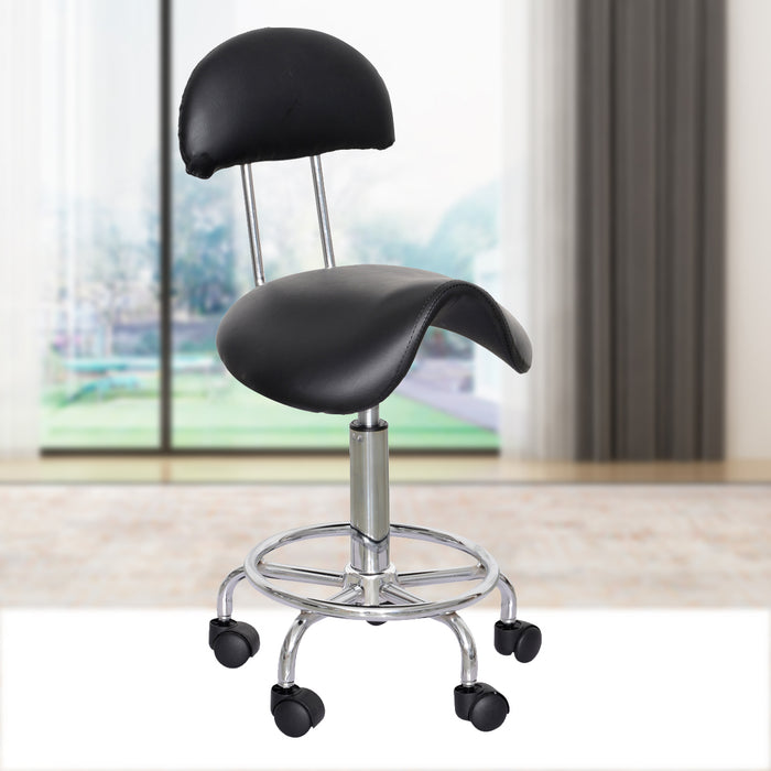 Barberpub Adjustable Hydraulic Swivel Saddle Stool SPA Salon Rolling Chair With Backrest 6001 Black