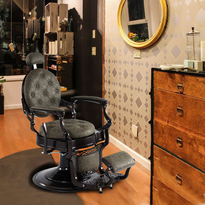 BarberPub Heavy Duty Metal Vintage Barber Chair  All Purpose Hydraulic Recline Salon Beauty Spa Chair Styling Equipment 3849