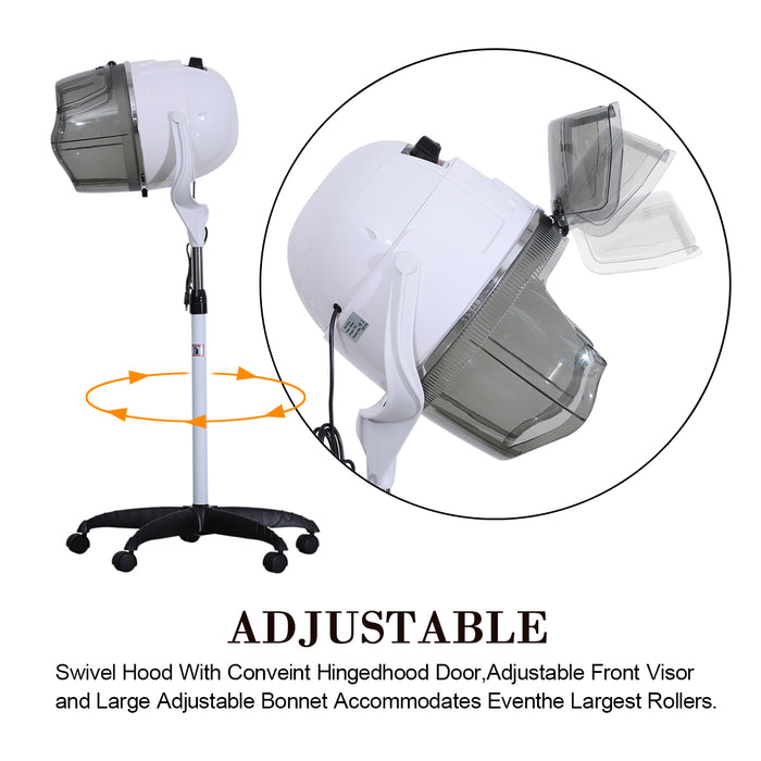 BarberPub Professional Adjustable Hooded Floor Hair Bonnet Dryer Stand Up Rolling Base w/Wheels  VHD08
