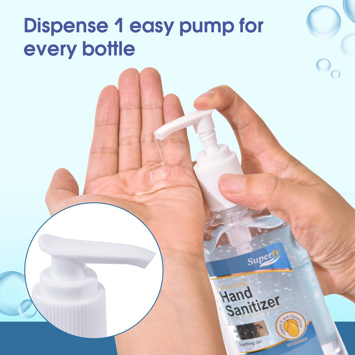 Superfy Press Hand Sanitizer, Moisturizing Gel Hand Wash with Pump,No-wash,Quick-drying  8 fl.oz (Pack of 4) 0240-4bottles
