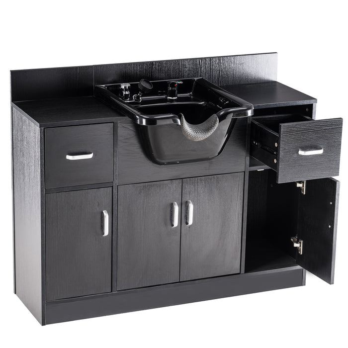 BarberPub Multi-functional Shampoo Station with Shampoo Bowl and Storage Cabinet, All in One Backwash Sink Chair Spa Salon Beauty equipment 7139